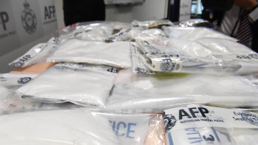 Seized drugs are displayed at the Australian Federal Police headquarters in Melbourne.