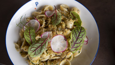 Truffled orecchiette pasta, cauliflower polonaise with brown butter at the Portside restaurant.