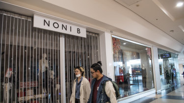 Noni B store at Westfield Eastgardens Shopping Centre in Sydney, shuttered on 21 August.
