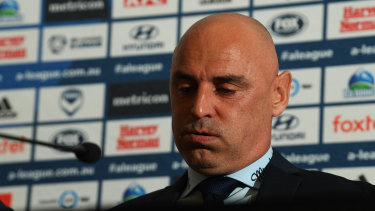 Tough going: Victory legend Kevin Muscat reveals a softer side than usual during his media conference on Monday.