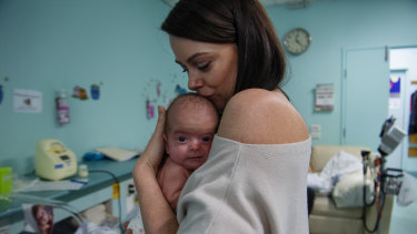 Jodie Harris with her baby daughter Georgia at The Royal hospital in Randwick.