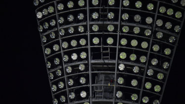 The lights were out on the Stanley Street end of the ground during the Big Bash League