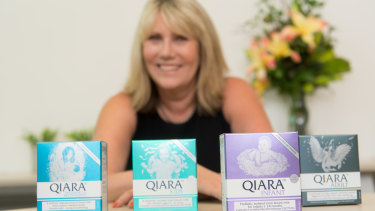 Helen Lyon with Puremedic's Qiara products.