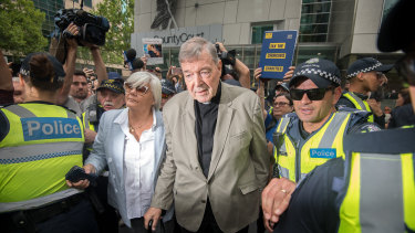 Cardinal George Pell leaving the County Court, where he was found guilty of child sex abuse charges.