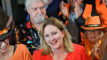 Centre Alliance candidate for Mayo, Rebekha Sharkie, at the Mt Barker Wallis theatre in Adelaide on Saturday.