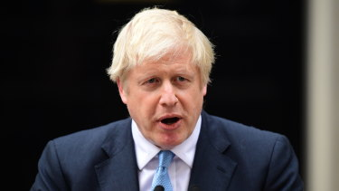 British Prime Minister Boris Johnson delivers a speech at 10 Downing Street.