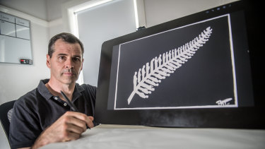 Pat Campbell in his Gorman House studio with his stunning response to the Christchurch massacre.
