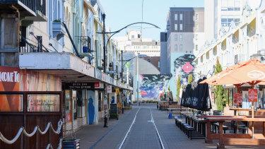 An empty New Regent Street in Christchurch.