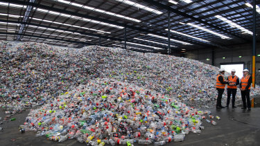 About four days' worth of returned bottles and cans at the Tomra Cleanaway recycling site at Eastern Creek in Sydney's west.