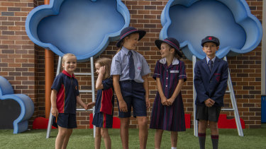 Year 3 and 1 students at Barker College try out their new shorts as part of a modernised school uniform.