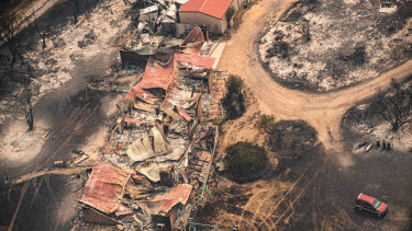 Property damaged by the East Gippsland fires in Sarsfield, Victoria, on January 1.