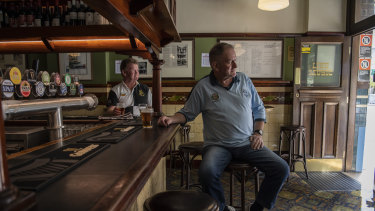Samo Vojsk enjoys a last drink at Sydney's oldest pub, Fortune of War.