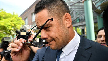 Silent: Hayne leaves Burwood Local Court without uttering a word.