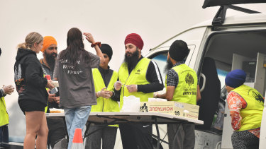 Sikh volunteers in Bairnsdale after the fires in January.