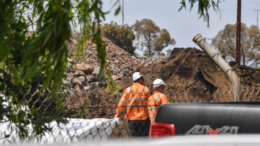 A West Gate Tunnel constructionsite in New Street, South Kingsville.