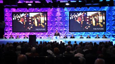 A huge 62 per cent of Telstra shareholders rejected the company's executive bonus payments at the telco's AGM at the Hilton Hotel in Sydney.