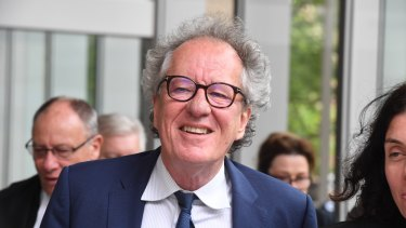 Geoffrey Rush leaves the Federal Court in Sydney on Monday.