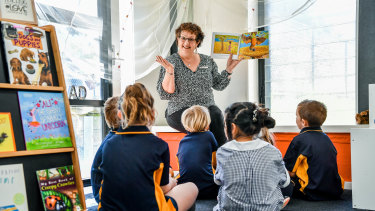 Belgrave South Primary School prep teacher Lynne Bok with her students.