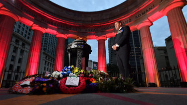 Australian Army veteran Peter Rabula at the Anzac Day dawn service at the Shrine of Remembrance in Anzac Square in Brisbane. Mr Rabula was an Infantryman who served in Timor and Afghanistan during his 27 years of military service.