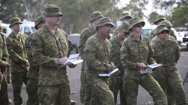 Australian Defence Force reservists prepare at Holsworthy Army Barracks in January.