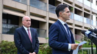 Customer Service Minister Victor Dominello, right, announcing the easing of the lockout laws.