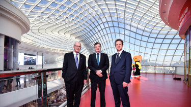 Vicinity's current chairman Peter Hay, CEO Grant Kelley and incoming chairman Peter Kahan at Chastone shopping centre.