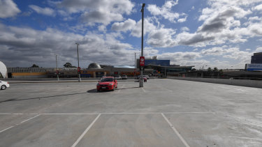 An empty Chadstone Shopping Centre car park in late March.