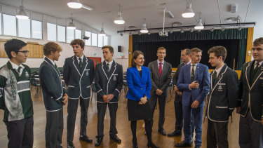 Premier Gladys Berejiklian with students from Randwick Boys' High earlier this year.