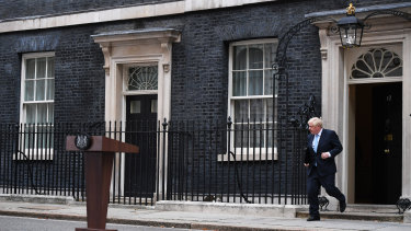 """I don't want an election. You don't want an election"" ... British PM Boris Johnson outside 10 Downing Street."