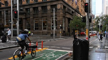 The Pitt Street pop-up cycleway is more popular than the Sydney Harbour Bridge route on some days.