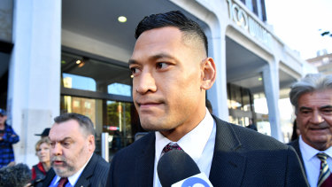 Israel Folau arrives at the Fair Work Commission in Sydney in June.