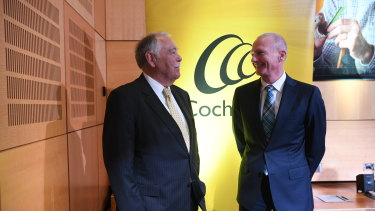 Cochlear chairman Rick Holliday-Smith and CEO Dig Howett at the company's AGM on Tuesday.