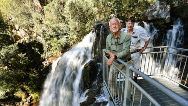 Geoff Hall, a former recreational angling guide, and local Rod Falconer at Snobs Creek Falls.