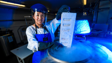 The Doherty Institute's Dr Thi Hoang Oanh Nguyen with frozen human flu samples.