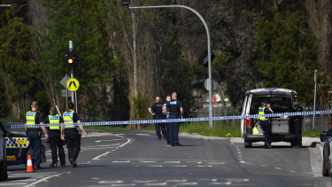 Police block Hutchinson Street in Lilydale after a police shooting.