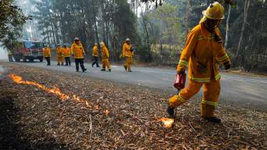 Fire crews carrying out controlled burning near Corryong on January 7.