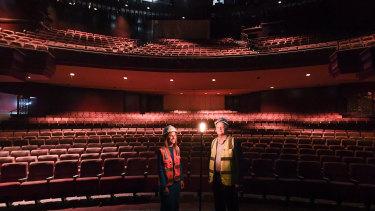 Amanda Pierboni and Tim McFarlane inside the Theatre Royal.