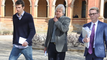 Barbara Eckersley's son, husband and solicitor leave Goulburn Local Court.
