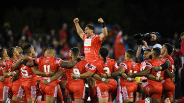 King of Tonga: Jason Taumalolo leads the Sipi Tau against New Zealand at the 2017 World Cup.