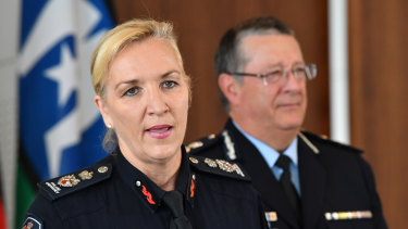 Incoming Queensland Police Commissioner Katarina Carroll (left) is seen with Ian Stewart (right) in April.