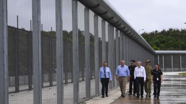 Prime Minister Scott Morrison tours North West Point Detention Centre on Christmas Island on Wednesday.