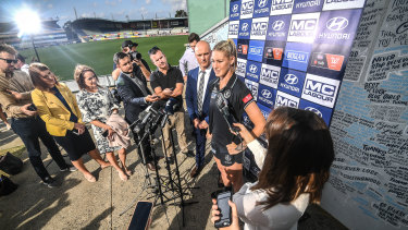 Standing up: Carlton AFLW star Tayla Harris fronts the media in Melbourne on Wednesday afternoon.