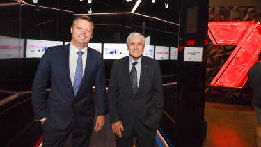 "Seven West Media CEO James Warburton, pictured here with chairman Kerry Stokes, has been describing the network as a ""hunter"" for new deals."