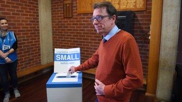 Independent Dr Joe McGirr casts his vote.