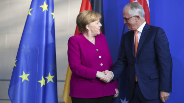 German Chancellor Angela Merkel and Malcolm Turnbull earlier this week.