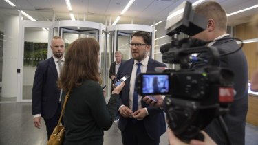 Sweden Democrats party leader Jimmie Åkesson is interviewed in  Stockholm, as results came in.