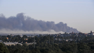 Smoke from the Campbellfield fire can be seen from miles away.