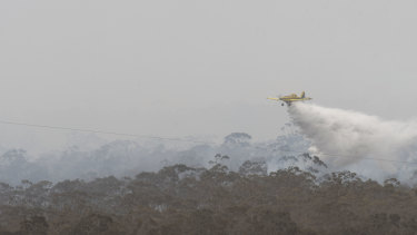 An air tanker battling the blaze at Clunes.