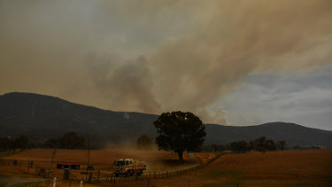 The Orroral Valley fire has been burning near Canberra this week and threatened to cross into the NSW border on Friday.