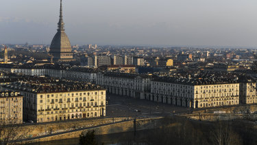 Buildings and streets in Turin, Italy, are seen during the lockdown due to the coronavirus.